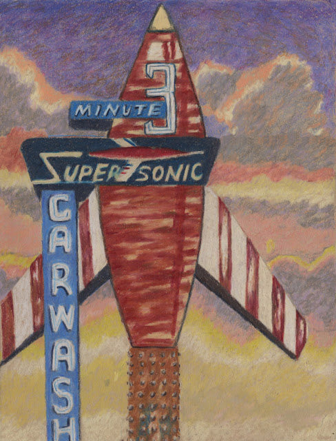 Colored pencil drawing of old sign