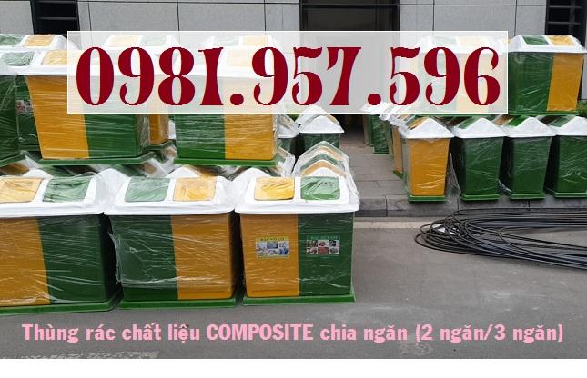 Thùng rác hình mái chia ngăn, thùng rác nắp lật chia ngăn