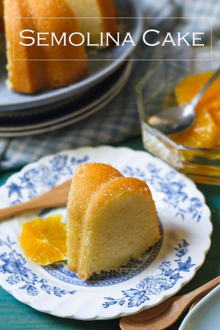 Moist and slight chewy Semolina cake also known as Sugee cake served with delightful citrus and bay leaves syrup.