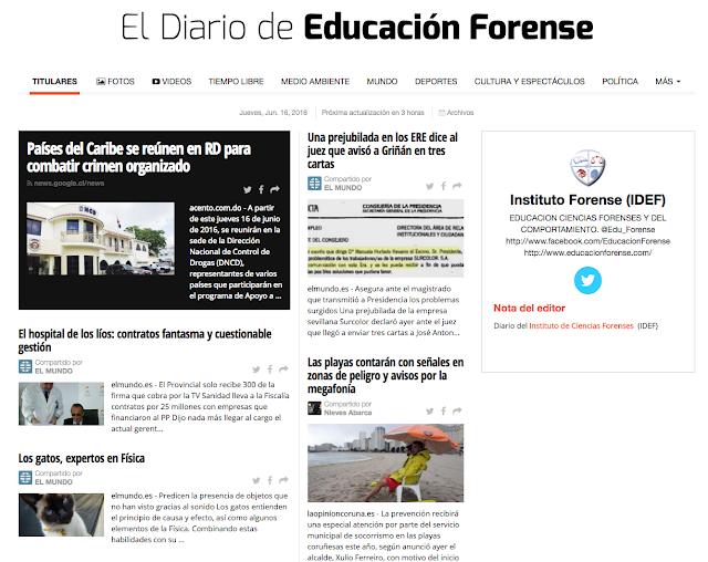 Diario IDEF acerca de noticias forenses