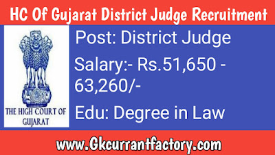 HC of Gujarat District Judge Recruitment, High court of Gujarat Recruitment