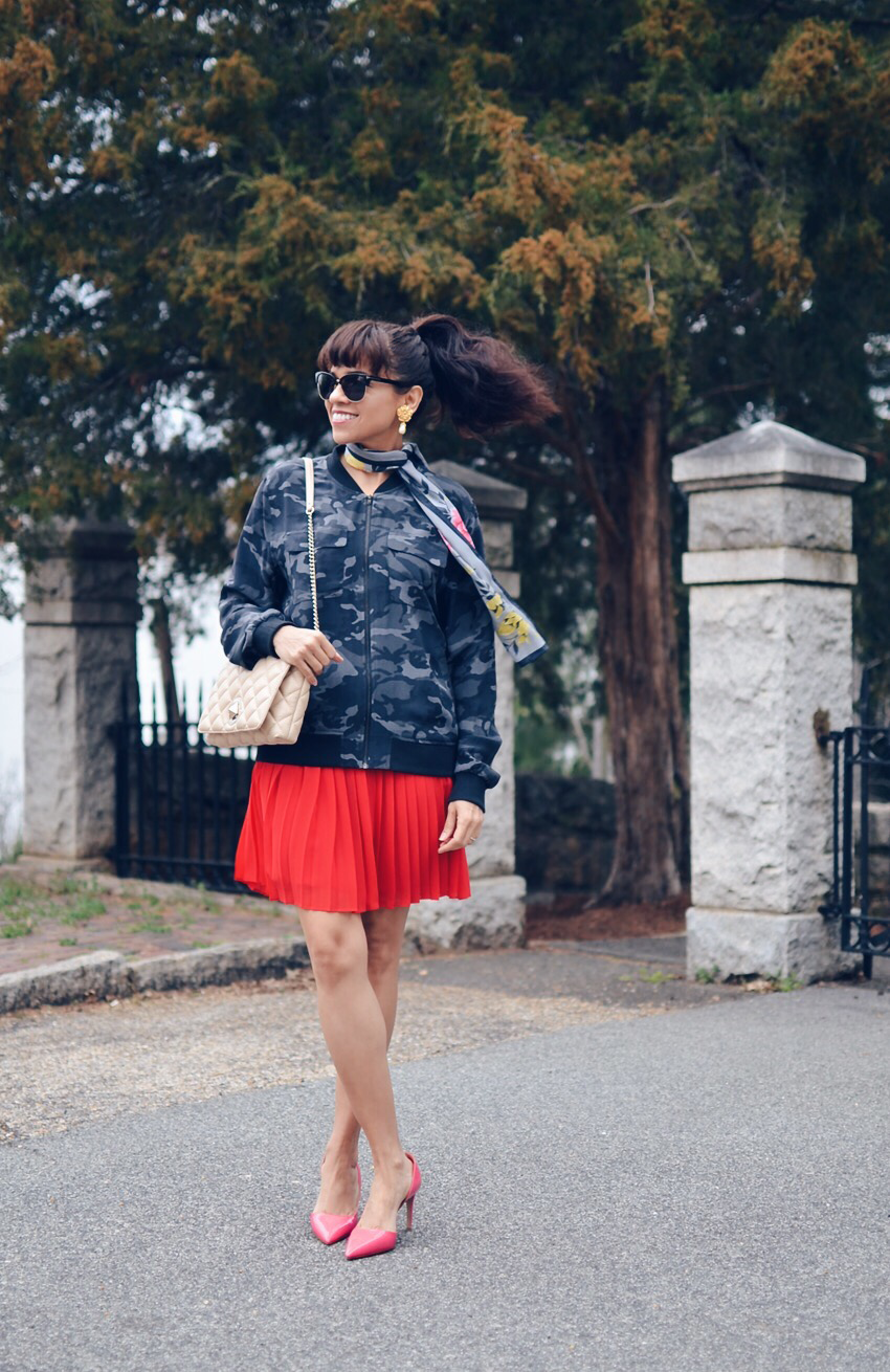 Red with pink outfit street style