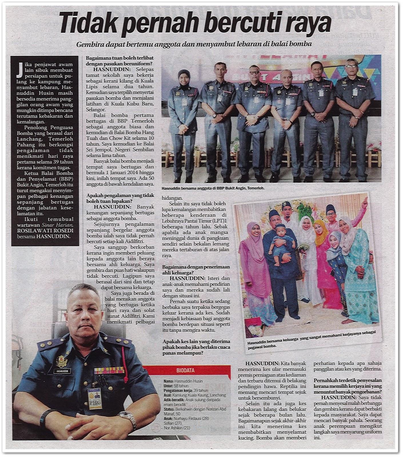 Tidak pernah bercuti raya - Keratan akhbar Sinar Harian 3 Jun 2019