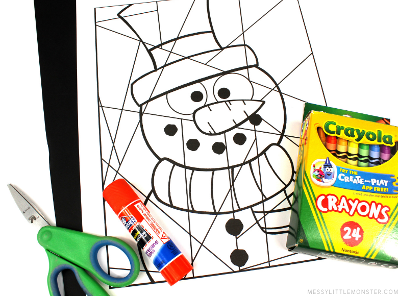 snowman colouring page for kids