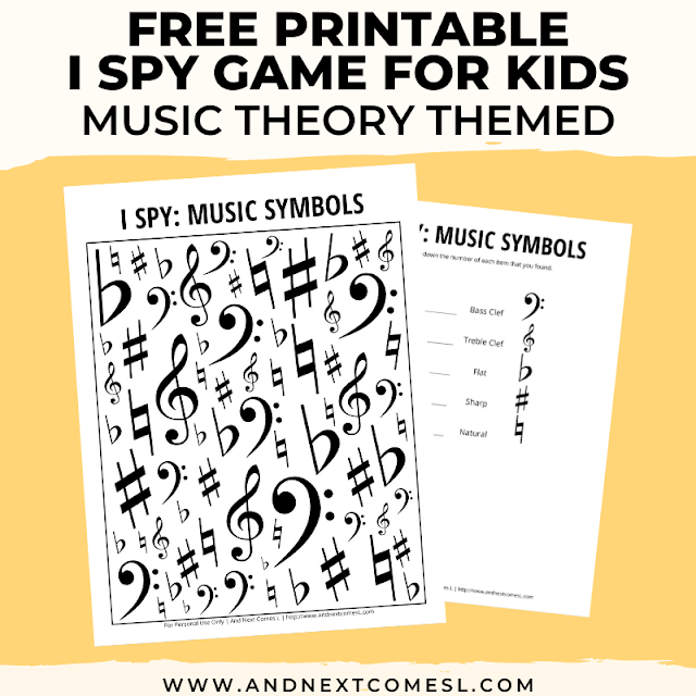 Free I spy game printable for kids: music theory themed