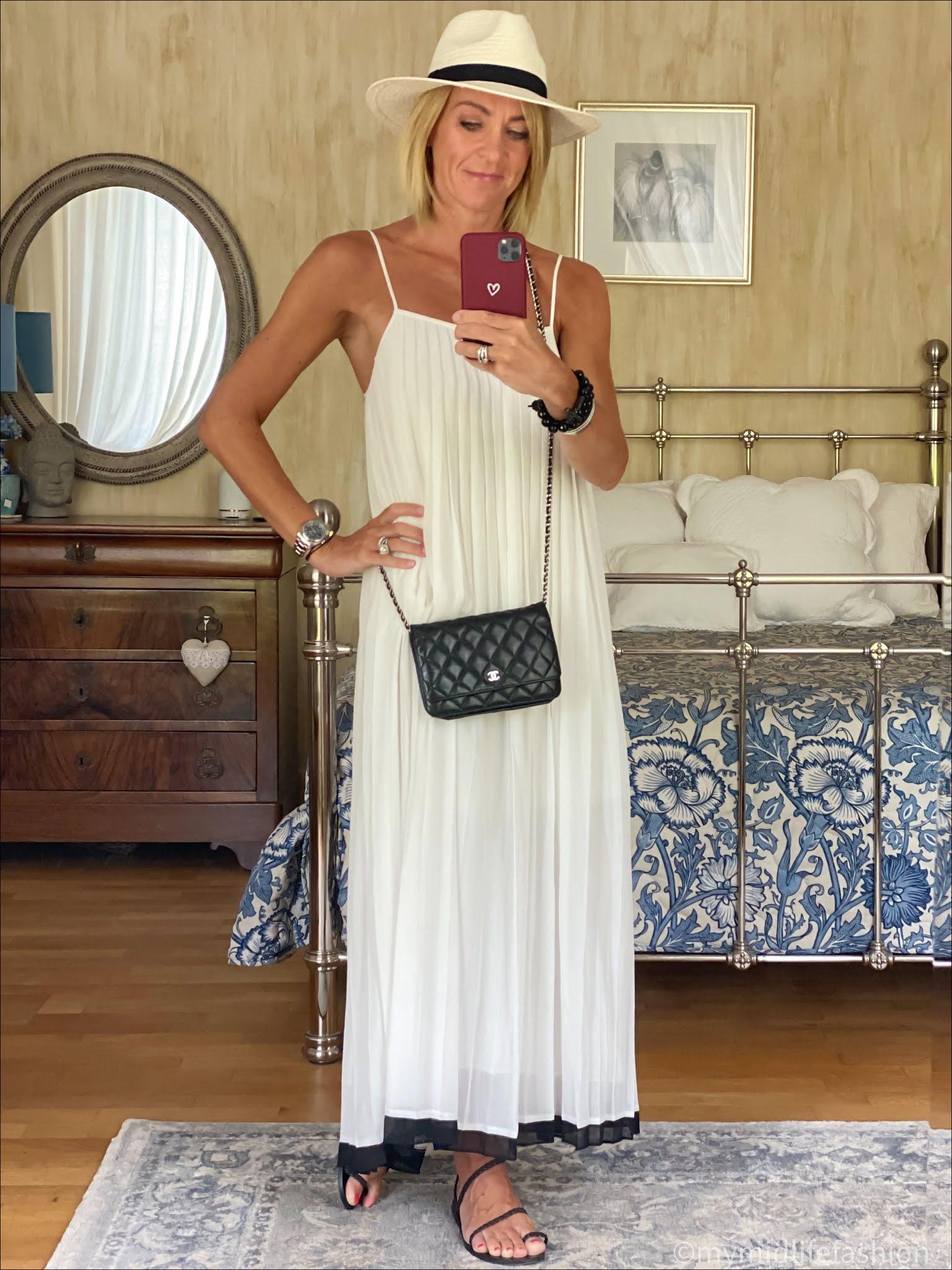 my midlife fashion, Zara Panama hat, Zimmerman pleated maxi dress, Chanel wallet on chain, Ancient Greek sandals