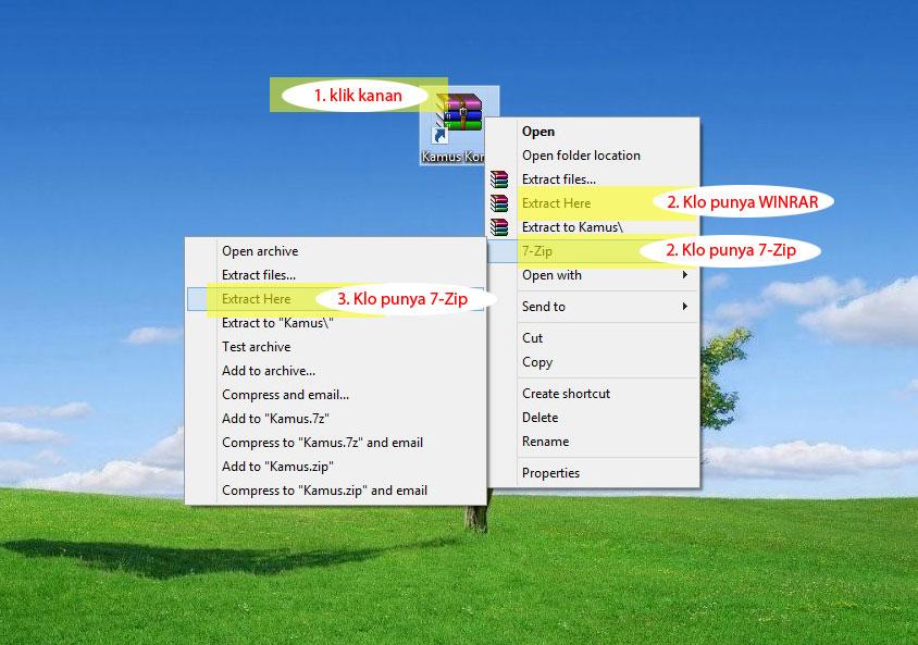 langkah 5 cara ekstrak file zip kamus korea untuk pc dg winrar atau 7zip - cara install kamus korea di komputer windows