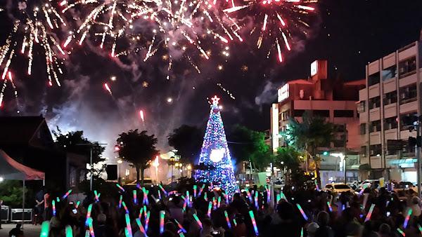 田中鎮火車站前聖誕樹點燈 防疫補冬元氣滿滿