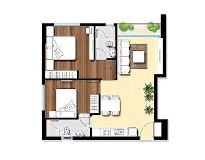 phối cảnh căn hộ chung cư diện tích nhỏ 49,9m2