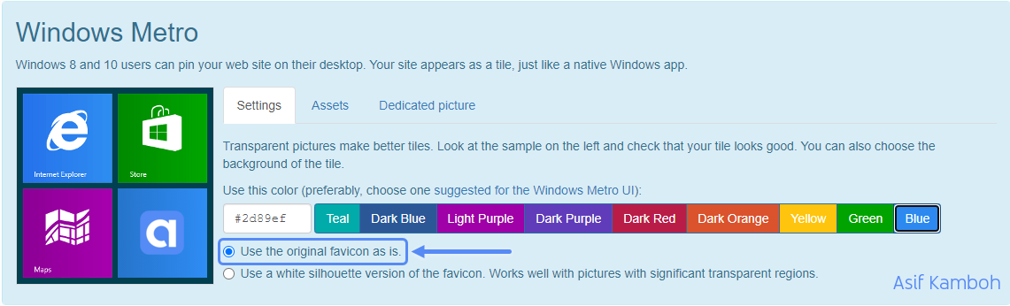 Select Use the original favicon as is an option and add a hex color code.