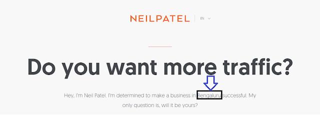 Neil Patel- Geo Based landing page customizations