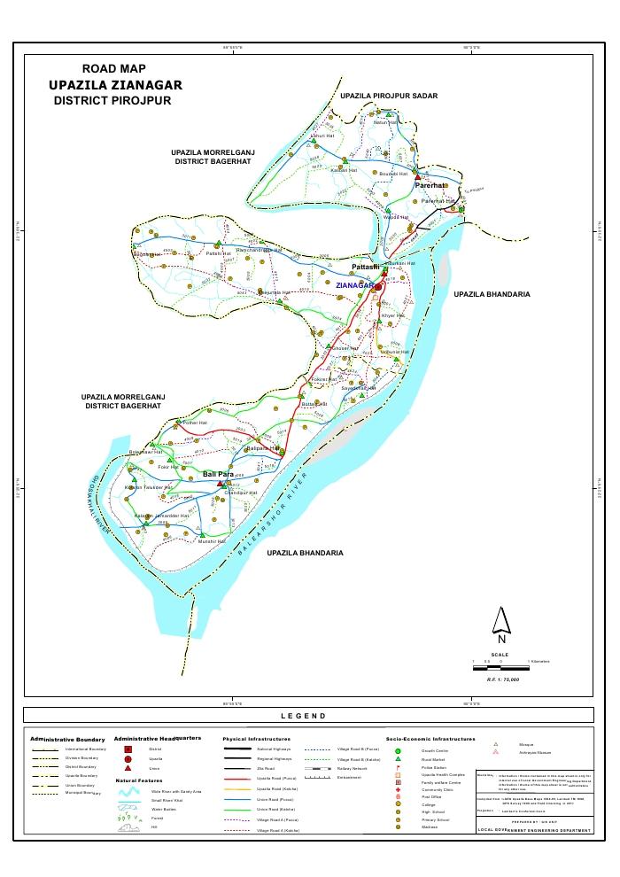 Zianagar Upazila Road Map Pirojpur District Bangladesh