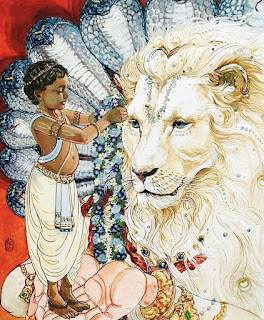 The Lion is ferocious and yet gentle with its cubs. Nature's fury is similar also. The Prahlada Narasimha story is an illustration of this.