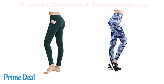 50% OFF  Women's High Waist with Pocket Yoga Pants Tummy Control Workout Running 4 Way Stretch
