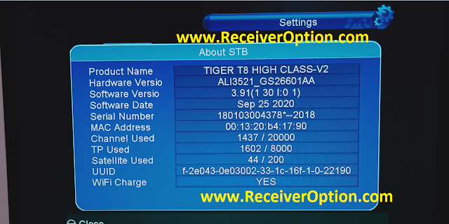 TIGER T8 HIGH CLASS V2 HD RECEIVER NEW SOFTWARE V3.91