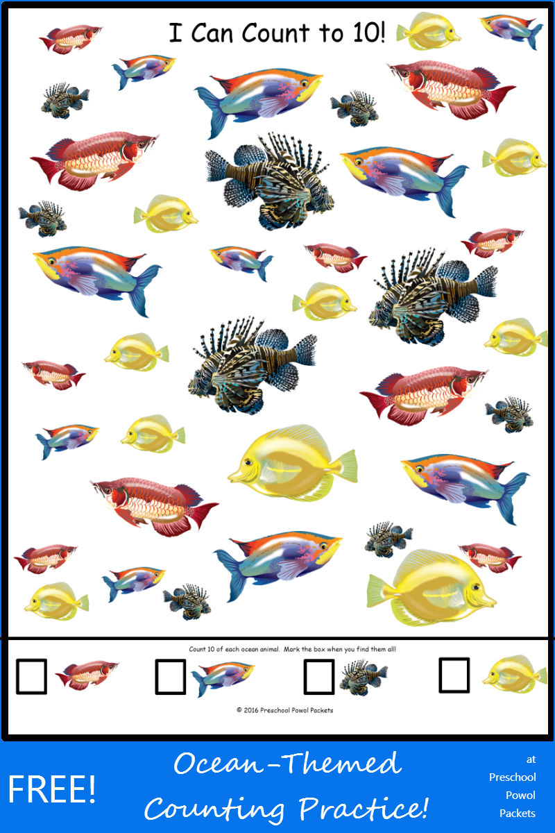 Free I Can Count To 10 Ocean Animals on Ocean Count Clip Cards