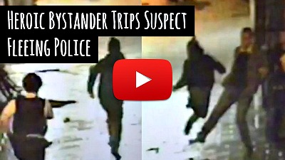 Watch Heroic Bystander Trip Suspect chased by Police via geniushowto.blogspot.com viral videos and photos caught on cctv camera
