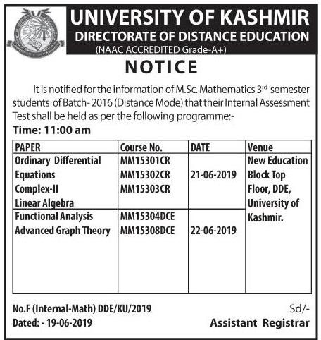Notification regarding Internal Assessment Test for M.Sc Mathematics 3rd Semester - University of Kashmir
