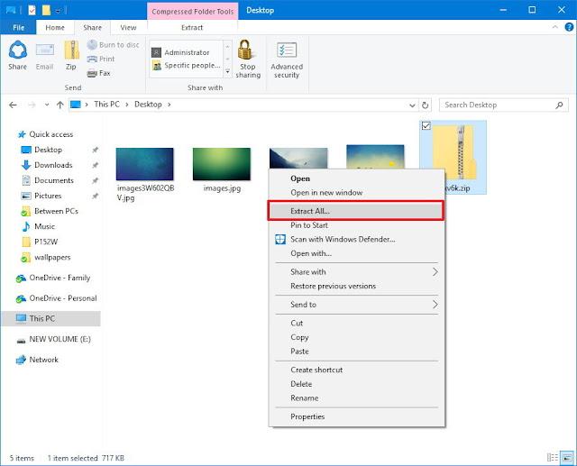 ách giải nén file Zip trên máy tính Windows