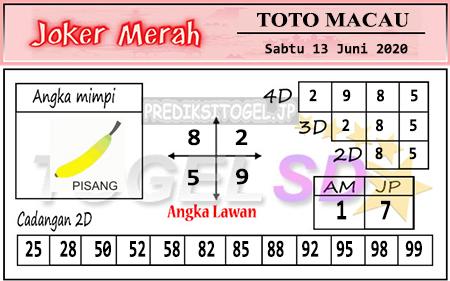 Prediksi Toto Macau Sabtu 13 Juni 2020 - Joker Merah