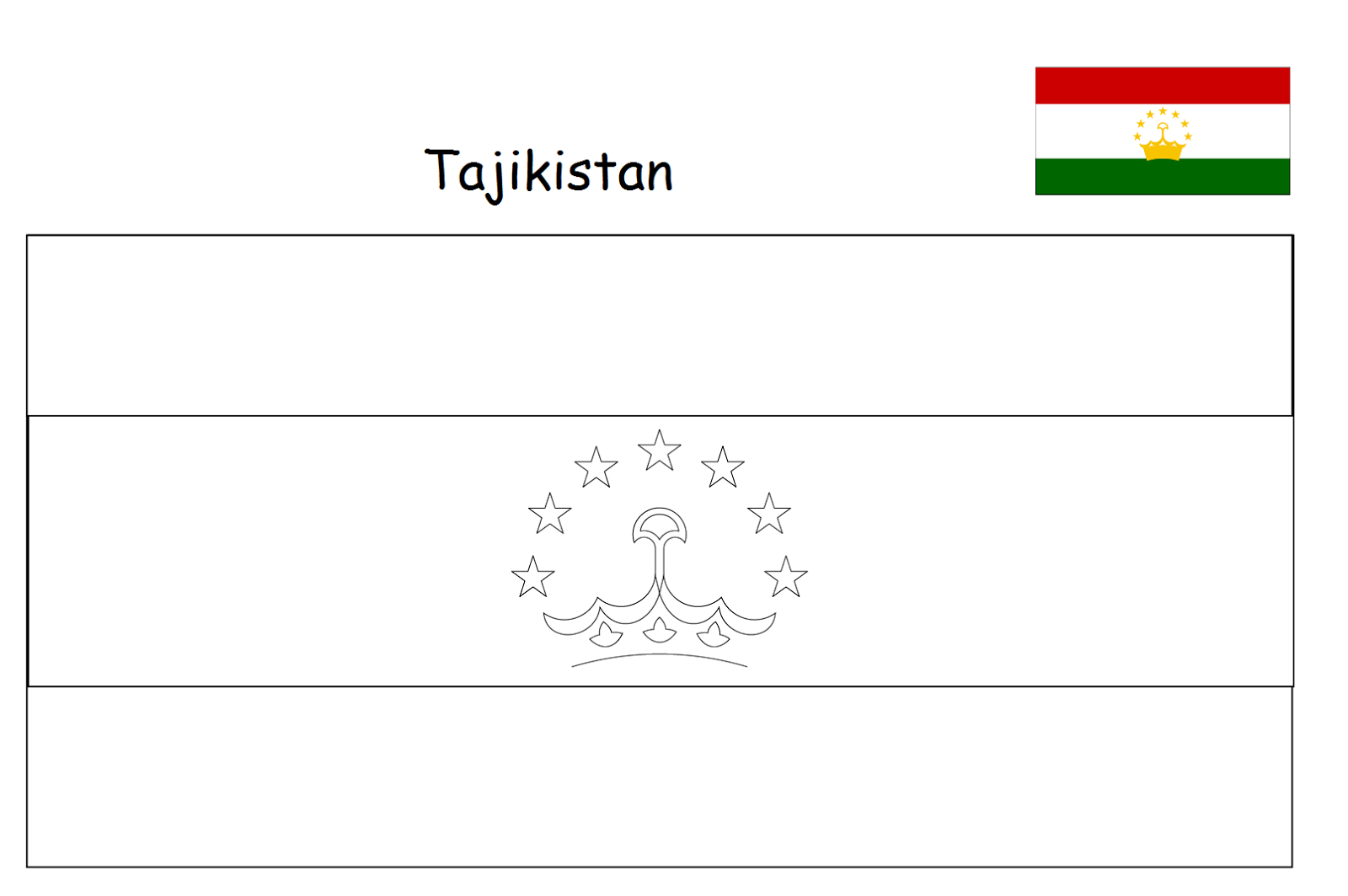 Geography Blog Tajikistan Flag Coloring Page
