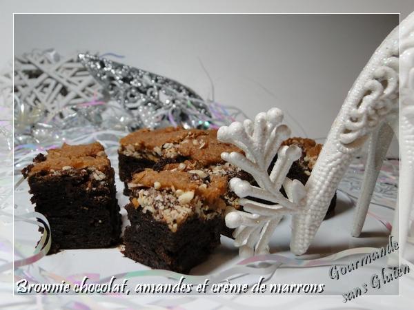 Brownie chocolat, amandes et crème de marrons