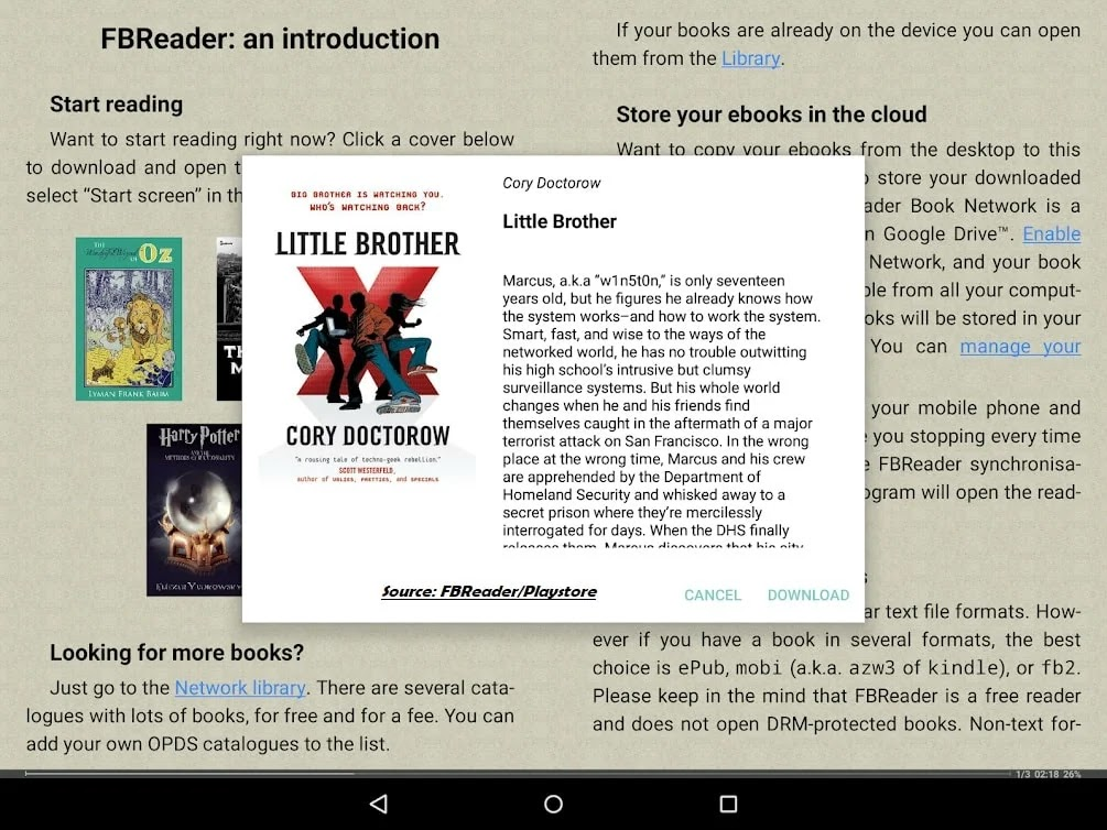 FBReader ebook reading android app