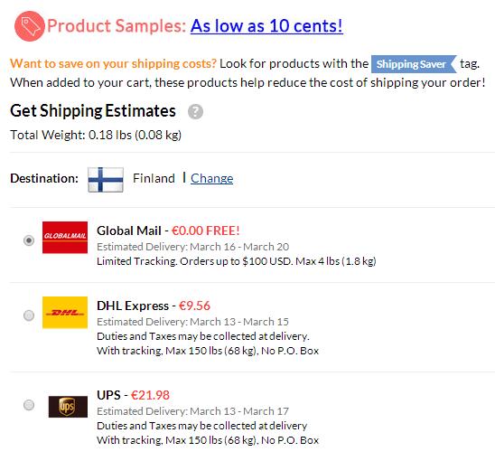 Shipping Saver tuote ostoskorissa antaa parhaassa tapauksessa täysin ilmaisen Global Mail postitoimituksen