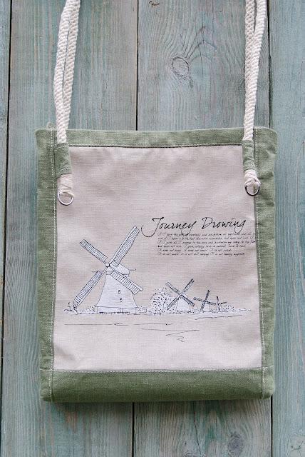 bags, сумки ручной работы, сумки из хлопка, сумка из льна, текстильная сумка, шью сумки, сумка с рисунком, мельница, сумка с принтом