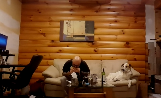 Dogs love food. Right next on their wish list is to watch people eating.  The dog in the video succumbs to the temptation and gazes at its master feasting, sitting right next to it.