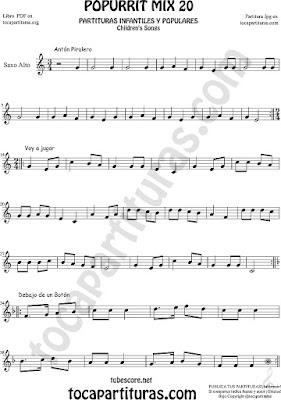 Partitura de Saxofón Alto y Sax Barítono Popurrí Mix 20 Partituras de Antón Pirulero, Voy a Jugar, Debajo de un Botón Infantil Sheet Music for Alto and Baritone Saxophone Music Scores