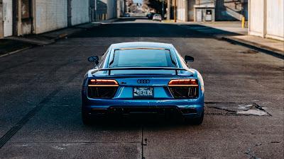Wallpaper HD Audi R8, Blue car, Rear view