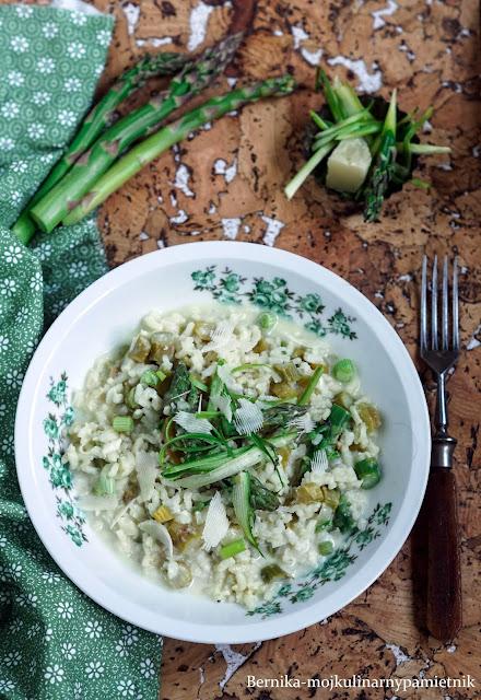 risottto, szparagi, obiad, warzywa, wege, bernika, kulinarny pamietnik, kuchnia wloska