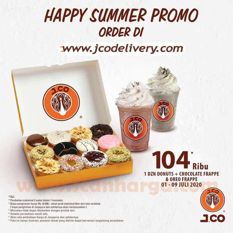JCO Happy Summer Promo 1 Dzn Donuts + Chocolate Frappe & Oreo Frappe Hanya Rp 104.000 Periode 1 - 9 Juli 2020