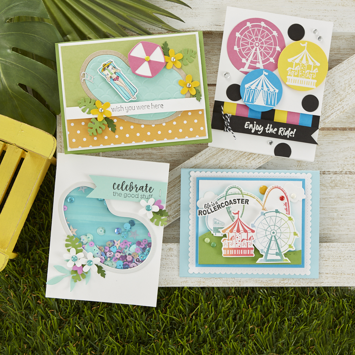 Four summer fun cardmaking ideas made with the Happy Place Project Kit from FSJ