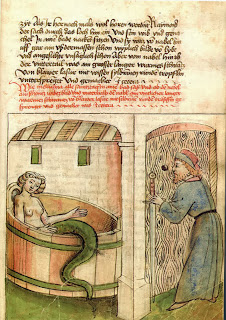 Melusine bathing while her husband watches her through the door