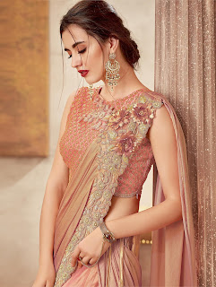 Peach Silk Designer Embroidered Lehenga Saree with 3D Flowers front Design