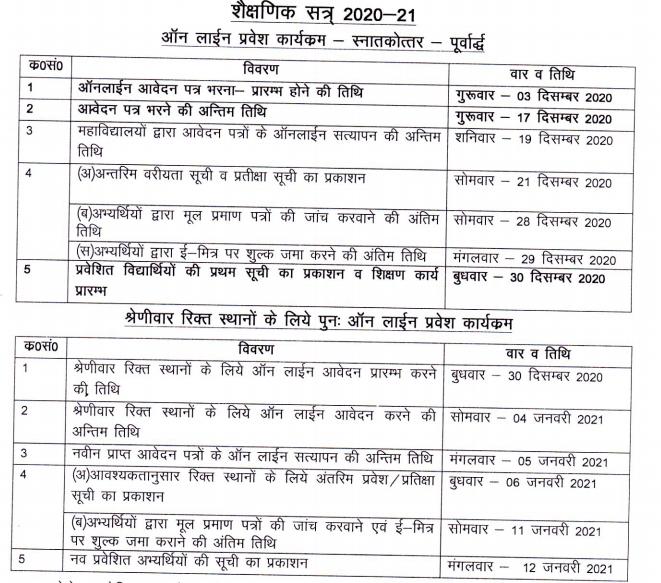 Rajasthan PG Admission Schedule 2020-21