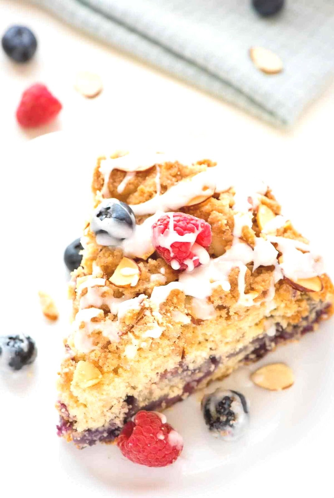 Blueberry crumb cake recipe with cinnamon streusel topping