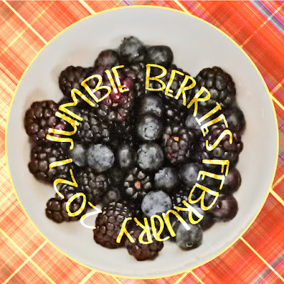 Blueberries and Blackberries in Ikea Bowl with plaid background