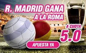 wanabet supercuota 5 + 150 euros bienvenida Real Madrid gana Roma 17 febrero