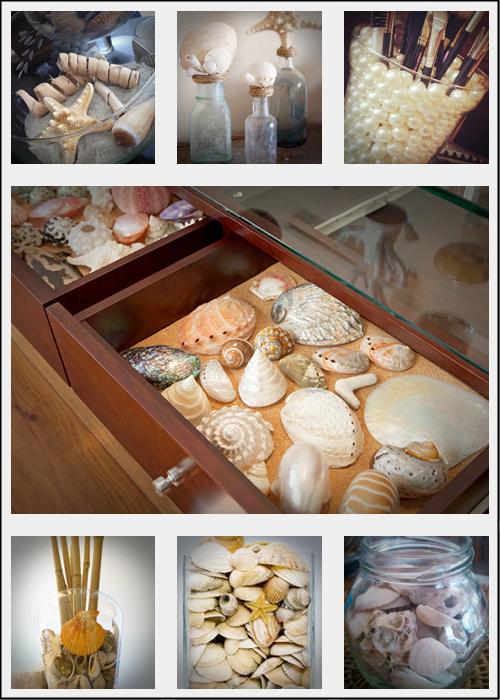 Conchas marinhas e estrelas do mar para decorar vidros