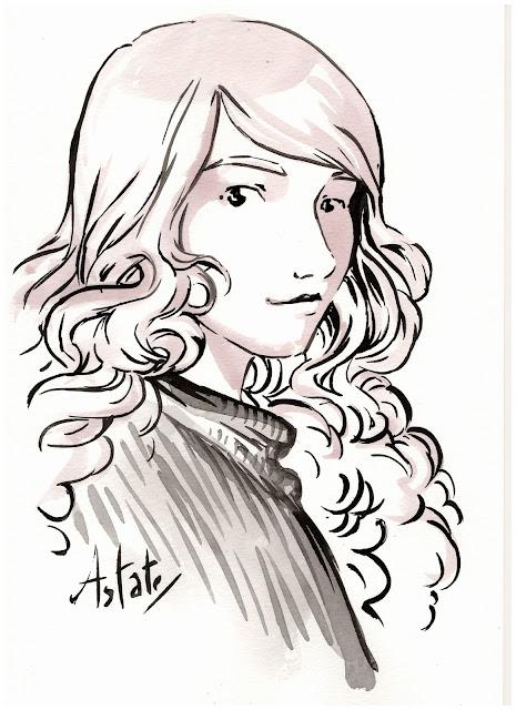 Céline - esquisse au pinceau d'un personnage de Par la fenêtre