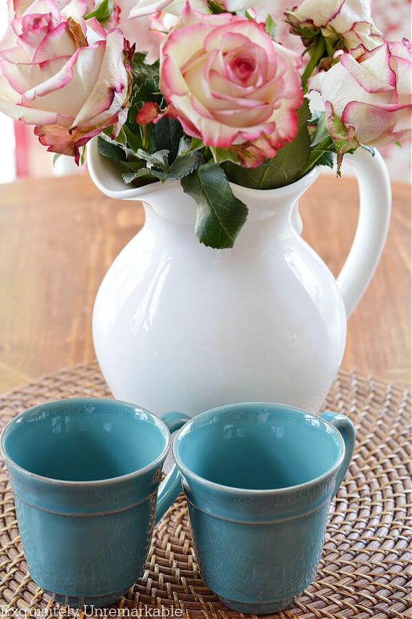 Pink roses and pottery barn aqua cambria mugs