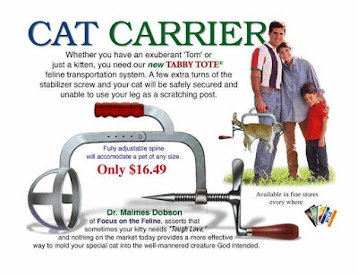Cat Carrier - Whether you have an exuberant Tom or just a kitten, you need our new Taby Tote feline transportation system