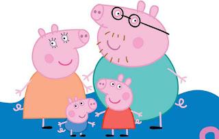 los 4 miembros de la familia cerdito - papa, mama, peppa y george