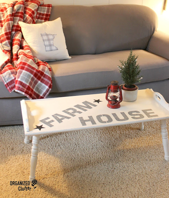 Photo of a coffee table with farmhouse makeover