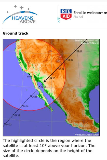 Predicted ground track for the first of the string of Starlink satellites (Source: www.heavens-above.com)