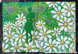 Jenny's garden of daisies art journal page step-by-step tutorial