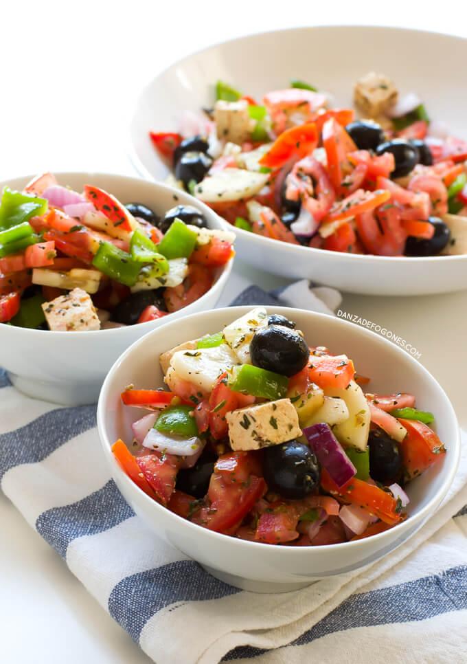 Vegan Greek Salad  danceofstoves.com #danceofstoves